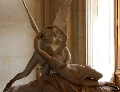 Amor (Cupid) kisses Psyche by Antonio Canova, Louvre